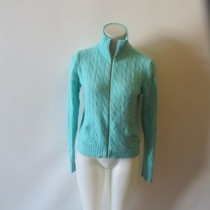 RALPH LAUREN GREEN CASHMERE FULL ZIP SWEATER SZ L*